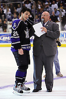 15 April 2006:  NHL Los Angeles Kings ice hockey player #20 Luc Robitaille skates his last home game for the team wearing the C for captain on his jersey in front of  a sellout crowd at the Staples Center in California.  The Kings won 2-1 in an overtime shootout against the Calgary Flames. David Courtney. .PERSONAL USE ONLY.