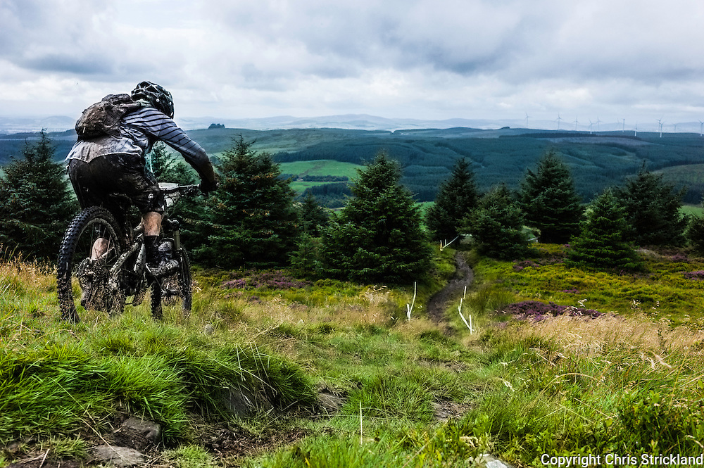 Ae Forest, Dumfries, Scotland, UK. 29th August 2015. Mountain bikers take part in the UK Gravity Enduro Series race at the 7Stanes Ae Forest trail in Dumfries.