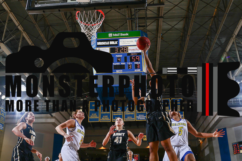 Army West Point Guard Janae McNeal (21) drives to the basket during a regular-season non conference game between Delaware and Army West Point Sunday, Dec. 11, 2016, at the Bob Carpenter Center in Newark Delaware.