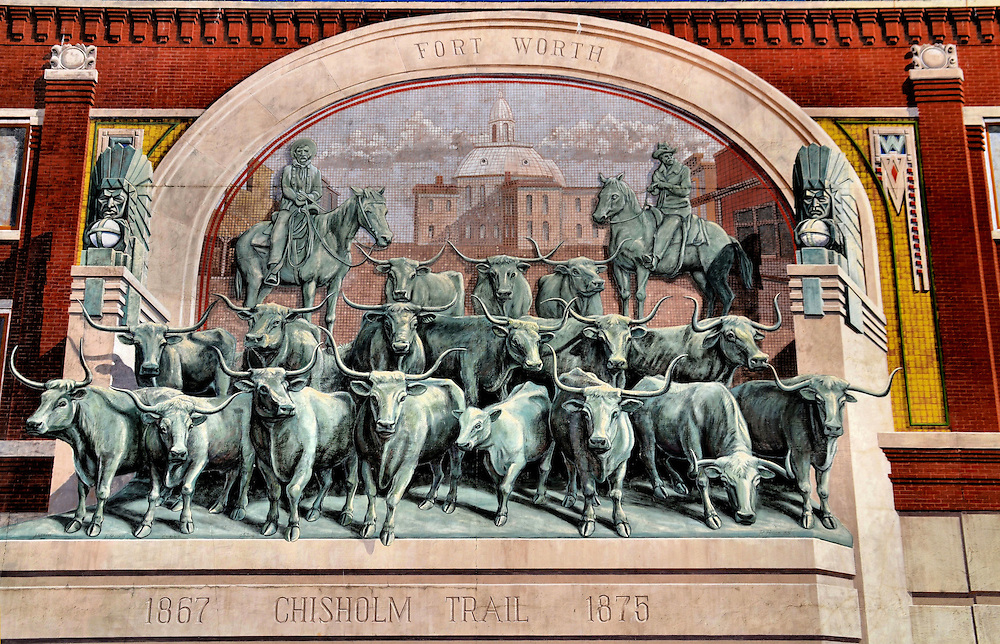 Chisholm Trail Longhorn Cattle Drive Mural Near Stockyards in Fort Worth, Texas<br /> 17 longhorns come thundering to life in this mural at the Fort Worth Stockyards in Texas.  The image is a recreation of a 1870s cattle drive on the Chisholm Trail towards Kansas. The three-dimensional painting was created in 1985 by New York artist Richard Haas. It is located at 400 Main Street in Sundance Square. Surrounding it are plenty of attractions appealing to the real and wannabe cowboys and cowgirls.