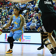 Chicago Sky Forward TAMERA YOUNG (1) drive into the lane in the third period of a WNBA preseason basketball game between the Chicago Sky and the New York Liberty Sunday, May. 01, 2016 at The Bob Carpenter Sports Convocation Center in Newark, DEL