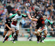 Twickenham, GREAT BRITAIN, Quins, Ugo MONYE attempts to hand off Steve BORTHWICK, as he breaks during the Guinness Premiership match,  Saracens vs Harlequins, at Twickenham Stadium, Surrey on Sat 06.09.2008. [Photo, Peter Spurrier/Intersport-images]