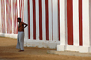 The Nallur Kandasamy festival in Jaffna, surrounded by a large tall red & white wall. The annual festival is in July or August.