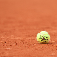 5 June 2009: A ball lies on the court during the Men's Singles Semi Final match on day thirteen of the French Open at Roland Garros in Paris, France.