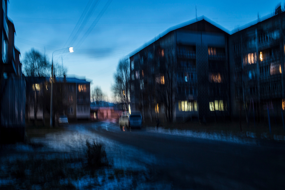 Apartment buildings at dusk on Thursday, October 24, 2013 in Baikalsk, Russia.