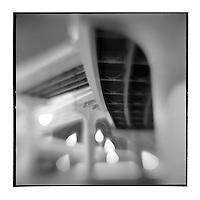 USA, Florida, Tampa, Blurred black and white images of expressway bridges near Tampa International Airport at night