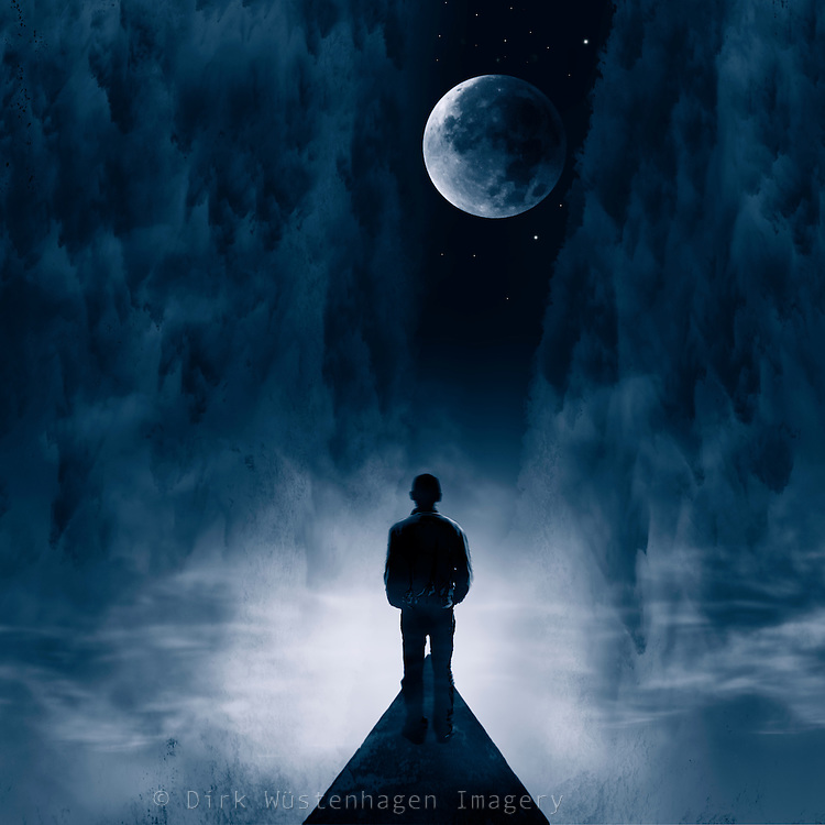 Man standing on a road facing a surreal night landscape with full moon<br /> Composing using various of my own photos<br /> Society6 products: http://bit.ly/2aOh2R2<br /> <br /> CURIOOS Prints: https://www.curioos.com/product/print/blue-dream-night