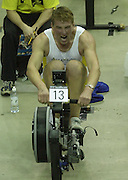 © Peter Spurrier/Sports Photo +44 (0) 7973 819 551.PPP Healthcare British Indoor Rowing Championships.18th Nov. 2001.National Indoor Arena...MatthewPinsent, applies the power, as her starts to catch his Olympic and World Champion partner, James Cracknell at the World Indoor Rowing Championship at the national Indoor Arena - Birmingham...