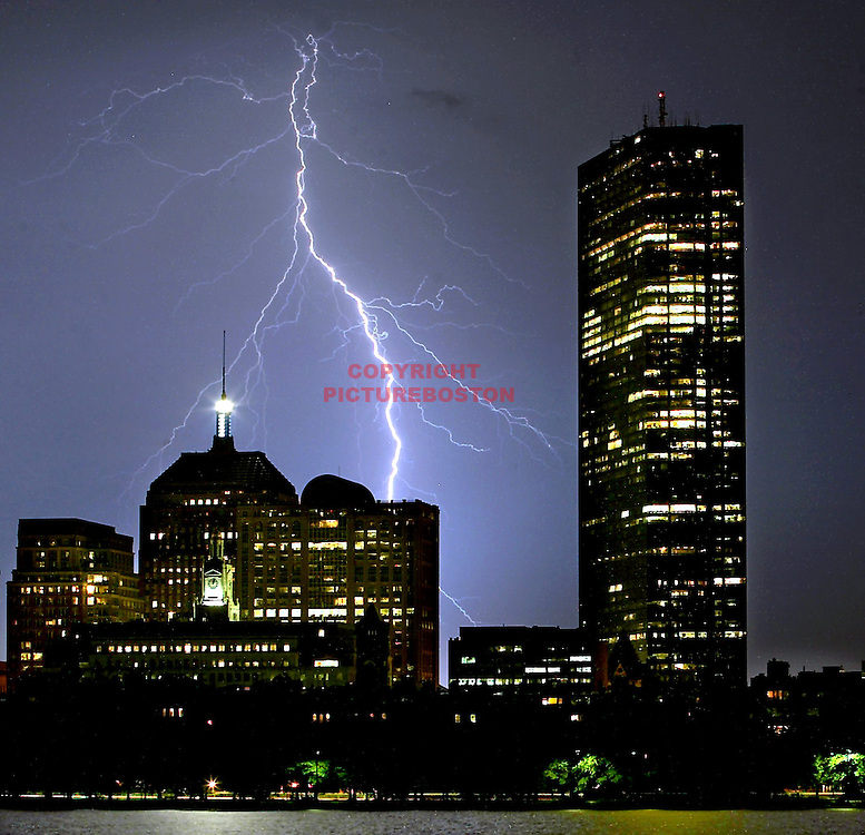 Lightning over the Boston skyline.
