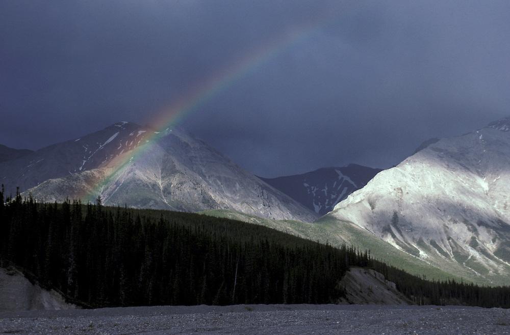 Rainbow near Muncho Lake, Alaska Highway, British Columbia, Canada
