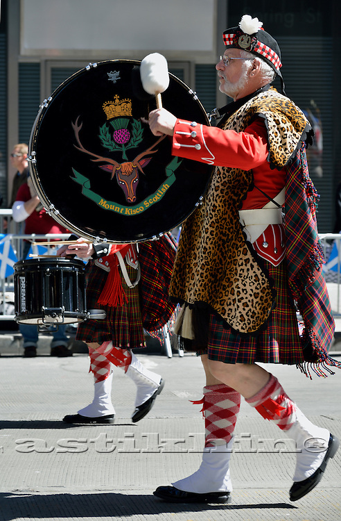 Drummer from Pipe Band performing at the<br /> Tartan Day Parade in Manhattan, NYC.