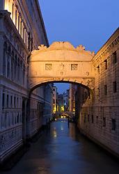 Bridge of Sighs at night  in Venice Italy