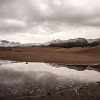 Medano Creek amidst stormy skies, Great Sand Dunes National Park