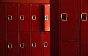 Empty school lockers.