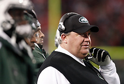Jan 3, 2010; East Rutherford, NJ, USA; New York Jets head coach Rex Ryan during the second half at Giants Stadium. The Jets clinched a playoff spot with a 37-0 win over the Bengals.