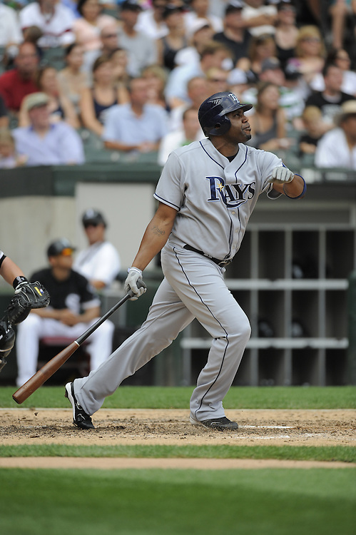 CHICAGO - AUGUST 23:  Cliff Floyd #15 of the Tampa Bay Rays bats during the game against the Chicago White Sox at U.S. Cellular Field in Chicago, Illinois on August 23, 2008.  The Rays defeated the White Sox 5-3.  (Photo by Ron Vesely)