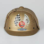 Soap Box Derby contestant helmet from 1947 worn by Paul Rinnert. The Soap Box Derby is a youth racing program which has run nationally since 1934. World Championship finals are held each August at Derby Downs in Akron, Ohio.  Photo by Bryan Rinnert