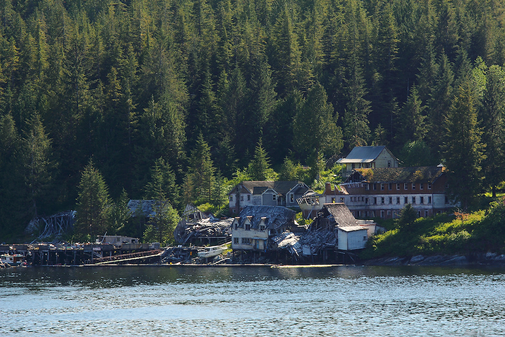 An abandoned, burnt-out town along Canada's Inside Passage