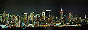 Midtown Manhattan Nightscape With USS New York