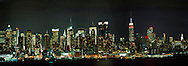 Midtown Manhattan Nightscape With USS New York
