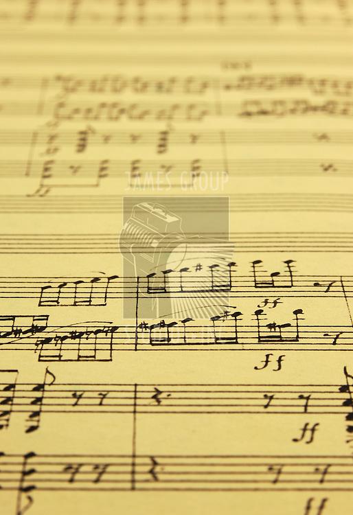 hand written music manuscript with selective focus