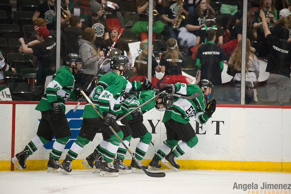 East Grand Forks celebrates a goal during the Class A semifinal game between Mahtomedi and East Grand Forks (East Grand Forks won 5-2) at the Minnesota State High School League Boys' State Hockey Tournament at the Xcel Energy Center in St. Paul, Minnesota on March 6, 2015. <br />  <br /> <br /> Photo by Angela Jimenez for Minnesota Public Radio www.angelajimenezphotography.com
