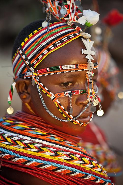 Local girl in traditional dress, Samburu, Kenya in traditional dress, Samburu, Kenya