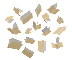A shot of file folders scattered in the air on a White background