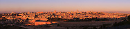 The Old City of Jerusalem, and the New City behind it, are seen from the East in this panoramic sunrise view from the Mount of Olives. WATERMARKS WILL NOT APPEAR ON PRINTS OR LICENSED IMAGES.