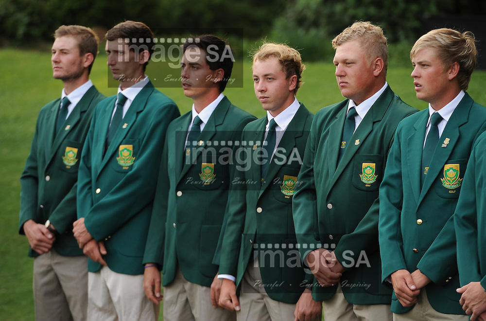 MALELANE, SOUTH AFRICA - Tuesday 17 February 2015, Teaghan Gauche, Matthew Spacey, Hendrikus Stoop, Paul Boshoff, Tristen Strydom and Stefan Cronje of South Africa during the official flag raising ceremony of the annual Leopard Trophy, a two day test between teams of the South African Golf Association and the Scottish Golf Union, at the Leopard Creek Golf Estate.<br /> Photo Roger Sedres/ Image SA