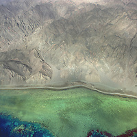 Aerial view of the Sinai pennisula and coral reef, Egypt, on the Red Sea.