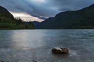 Storm clouds roll in over Cameron Lake near Port Alberni, British Columbia, Canada