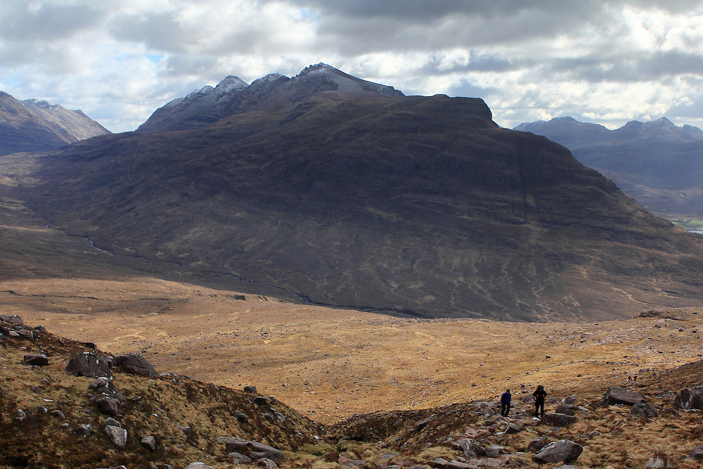 Hiking up from Torridon towards the Tom na Gruagaich munro, one of the peaks that comprise Beinn Alligin, in the Scottish Highlands