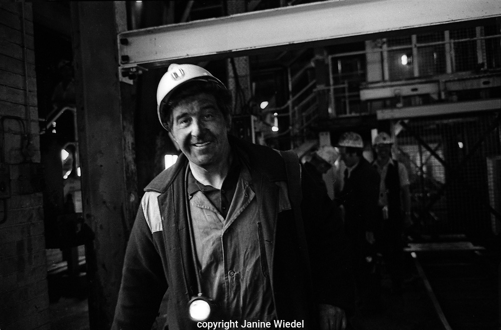 Coal miner coming off shift at Florence Colliery outside Stoke-on-Trent North Staffordshire, The West Midlands England 1977