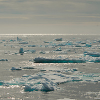 Ice covering the ocean surface at lower Baffin Island, area around Hudson Strait and the Labrador Sea.