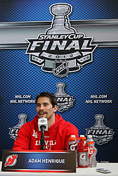 May 29; Newark, NJ, USA; New Jersey Devils center Adam Henrique (14) during Stanley Cup Finals media practice day at the Prudential Center.