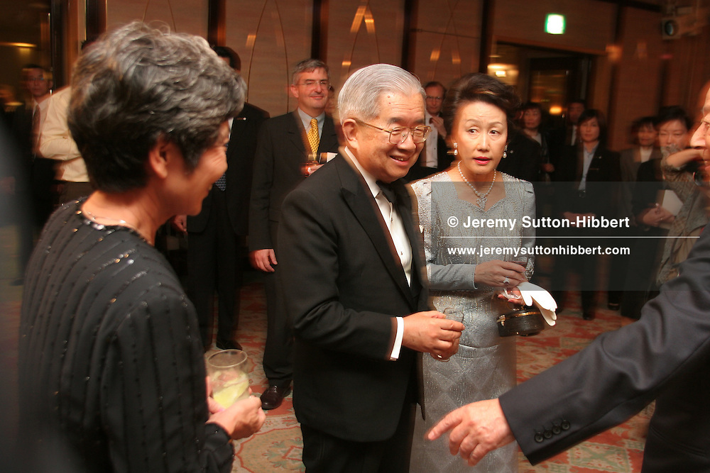 Prince (brother of Japanese Emperor) and Princesss Hitachi meet guests during a cocktail party following the awards ceremony of the 2006 Praemium Imperiale art awards, in the Meiji-Jingu Kinenkan hall, Tokyo, Japan, on Wednesday, Oct. 18,  2006. The five laureates in 2006 were internationally renowned  Japanese artist Kusama Yayoi, French sculptor Christian Boltanski, German architect Frei Otto, American musician Steve Reich, and Russian dancer ballerina Maya Plisetskaya. All receive an honorarium of 15 million Yen, and a medal. The Japan Art Association, giver of the awards, is the oldest cultural foundation in Japan, established in 1887. The laureates are chosen each year by an international jury, from a list of nominees put forward by advisors. The awards are held annually in Tokyo in the presence of Prince and Princess Hitachi.