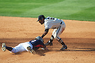 Ole Miss' Will Jamison is tagged out vs. Vanderbilt's Tony Kemp (6) at Oxford-University Stadium Stadium in Oxford, Miss. on Saturday, April 6, 2013. Vanderbilt won 2-1.