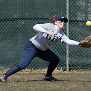 Goldey-Beacom Outfielders Michelle Foster (21) makes a outstanding catch in right in the fifth inning of game #1 of NCAA Central Atlantic Collegiate Conference (doubleheader) against Post University Saturday, March 30, 2013, at Nancy Churchmann Sawin Athletic Field in Wilmington Delaware.