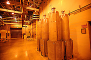AIKEN, S.C. - NOVEMBER, 20 2013: Six empty stainless steel canisters used in the vitrification of radioactive waste are stored in the Defense Waste Processing Facility at the Savannah River Site near Aiken, S.C. The plants liquid waste program vitrifies highly radioactive radionuclides and fills these canisters for storage.  CREDIT: Stephen Morton for The New York Times