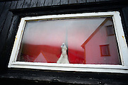Bear figure inside a house in village of GjÛjv, Eysturoy, Faroe Islands