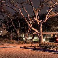 USA,Florida,Indian River County,Vero Beach, Parking garage at night,American Nightscapes Vero Beach