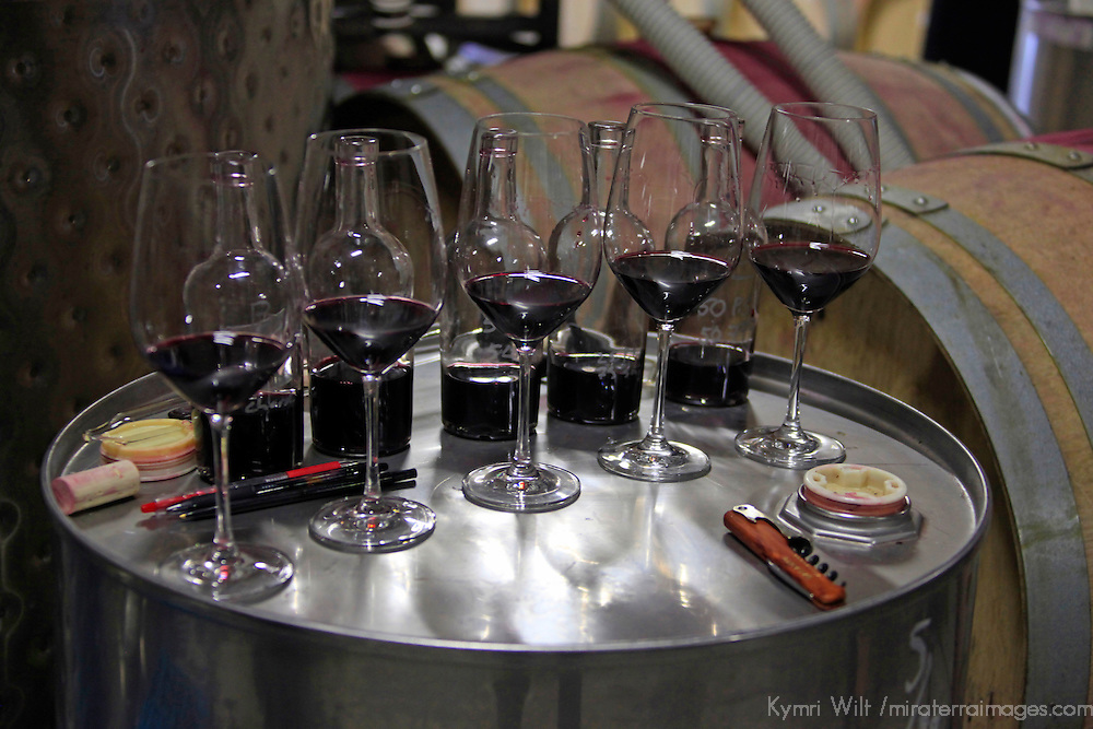 USA, California, Carmel. Wine tasting in the wine caves of Holman Ranch.