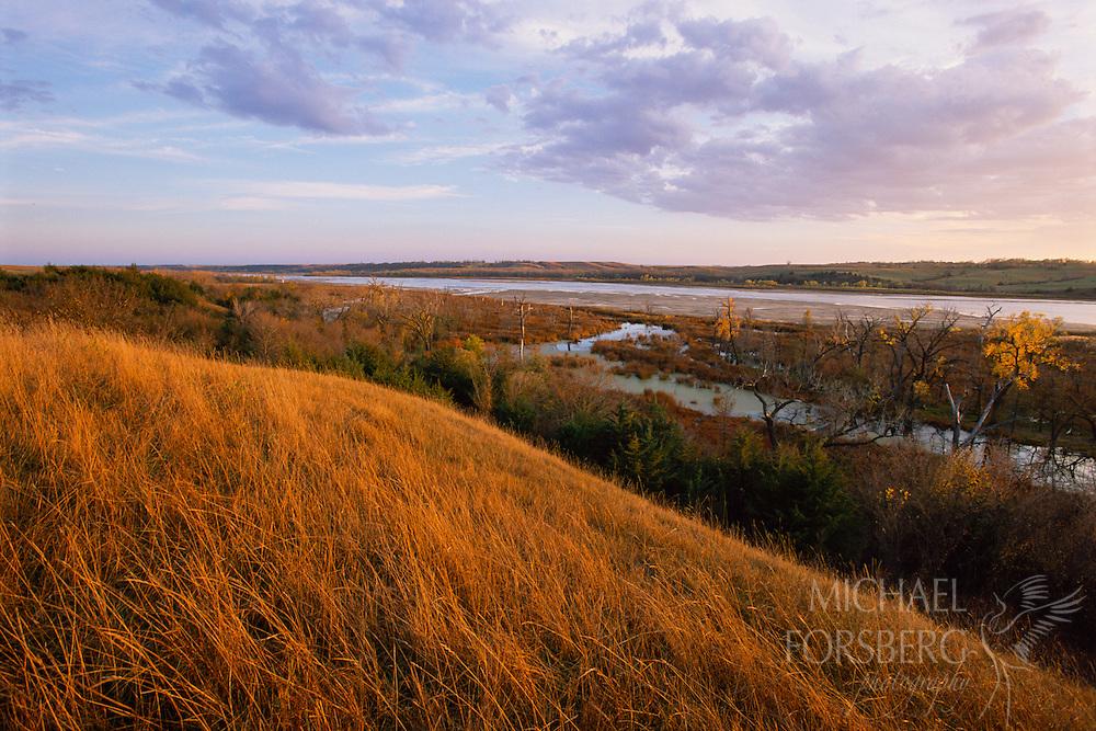 Autumn light creates a glowing landscape in the Niobrara River Valley, Nebraska.