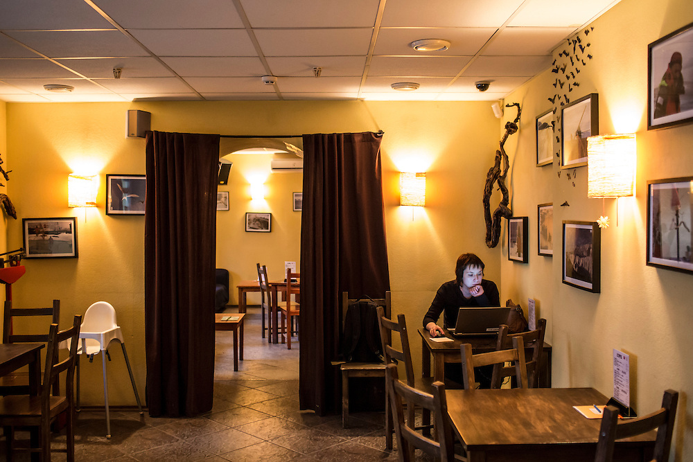 Inside the Coffeetown Cafe, a favorite hangout of Alexander Panin, on Tuesday, February 25, 2014 in Tver, Russia. Panin, a Tver native, was arrested in the Dominican Republic in June 2013, and is set to be charged by federal authorities in the US with being part of a gang which robbed bank accounts via the Internet. Photo by Brendan Hoffman, Freelance