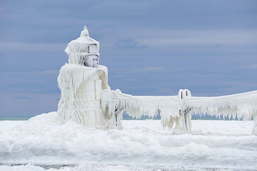A frozen lighthouse in St. Joseph, Michigan