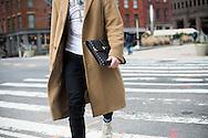 Camel Coat and Portfolio Clutch, NYFWM Day 1