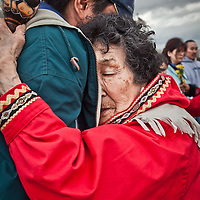 Representatives of the 13 Grandmothers gather on the Delaney Park Strip for a Blessing of the Homeless, Anchorage, Alaska
