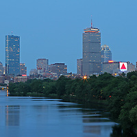 http://juergen-roth.artistwebsites.com/featured/boston-nightscape-juergen-roth.html &lt;&lt;&lt; Boston skyline photography showing the Prudential Center, Hancock building, 111 Huntington Avenue office building Charles River and brownstones along the banks at night.<br />