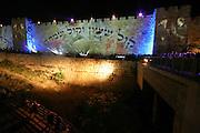 Israel, Jerusalem, Audio Visual presentation on the walls of the Old City commemorating the unification of Jerusalem.